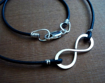 Infinity to Eternity Black Leather Unisex Simple Sterling Silver Necklace