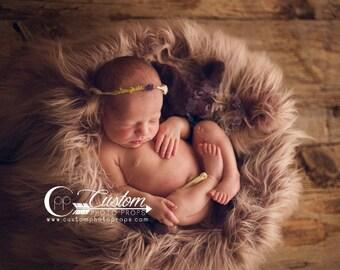 Ombre Faux Flokati Fur Newborn Baby Photo Prop, Baby Photography Props, Vegan Fur Photography Props, BASKET STUFFER Fur, COBBLER