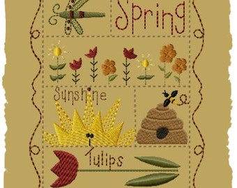 Primitive Machine Embroidery Design-Spring Sampler--Version 1--(5x7)-INSTANT DOWNLOAD