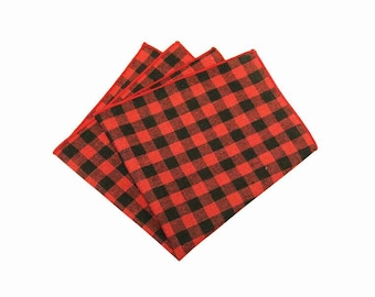 """Red Plaid Pocket Square.Red Cotton Gingham Pocket Square.Red Handkerchief.Red Hanky.Mens Gifts. 12"""" x 12 """""""