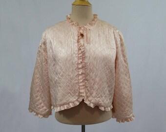 1940s Vintage Lingerie - Vintage Jacket - Pink Quilted Bed Jacket - Gifts For Her