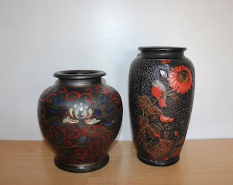 1920s Japanese Tokanabe Vases - Black Red  Lotus Flower Bird