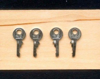 4 Teeny, Tiny, Silver, Metal Keys for Arts and Crafts Projects