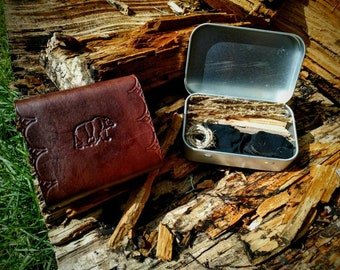 BRW Tinder Box with Leather Holster, Fully Stocked