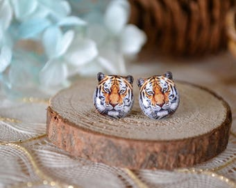 Tiger surgical steel earrings handmade Tiny Jewelry with linen cotton bag