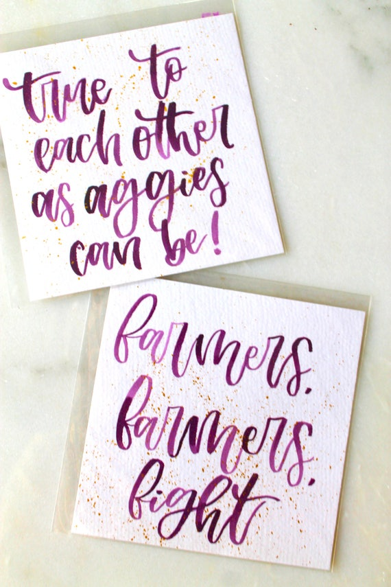 Texas Aggie Watercolor quotes/War Hymn lettering/Texas A&M