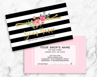 Salon cards etsy hair stylist business cards salon barber cards custom navy white striped watercolor florals reheart Images