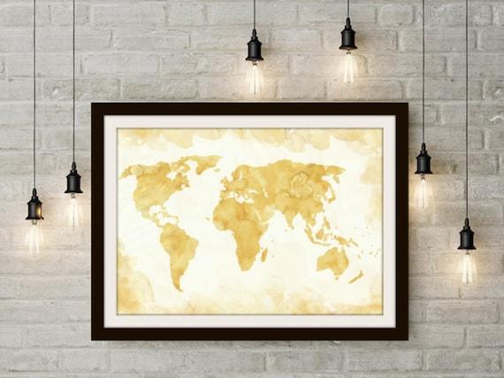 World Map Wall Art Brown Wall Art Travel Decor Coffee Art