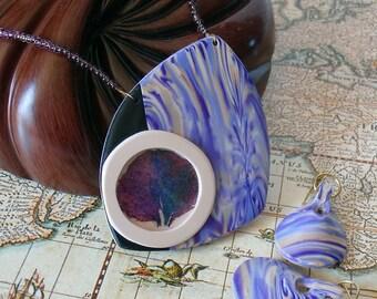 Purple Necklace Earring Set, polymer clay, real hydrangea flower petal, cream, black, beige, gold