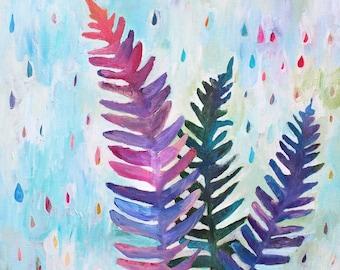 Fern Painting, Rain Painting, Fern and Rain Painting, Colorful Rain, Rain Lovers, Boho, Hippie, Rain Art, Fern Art, Wall Art, Home Decor