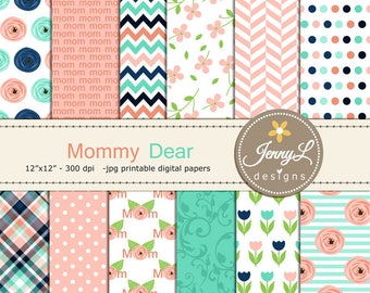 Mother's Day Digital Paper, Flower Floral Scrapbooking Papers, Mom, Mother, Mommy, Mum, Tulip, Peach Navy Planner, Invitation, Card