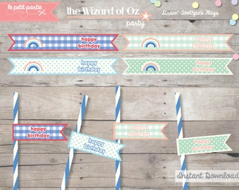 DIY printable WIZARD of OZ Birthday Party Decoration - Straw/ toothpick flags for food or drinks - Instant Download
