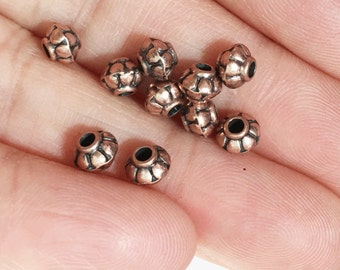 100 pcs of antique copper rondelle spacer beads 4x5mm,  metal spacer beads