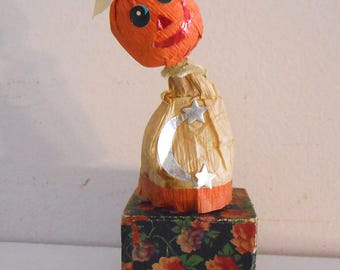 Very Old Japan Halloween Pumpkin Man Candy Container