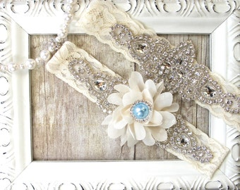 Wedding garter set - Customizable garter w/ toss - Baby Blue Garter, Something Blue, Bridal Garter, Rhinestone Garter, Prom, wedding dresses