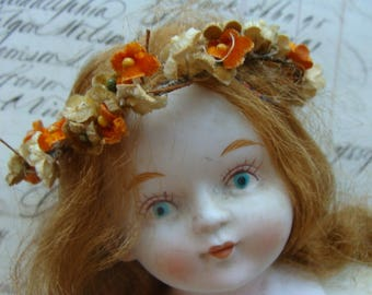 Vintage Bisque Rare Cloth Gorgeous Hand Painted Doll