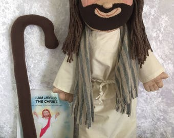 Jesus Doll Good Shepherd, Jesus Picture Bible, Staff, Unique Jesus Dolls, Handmade Jesus Rag Doll, Christian, Catholic, Gifts, Get Well Gift