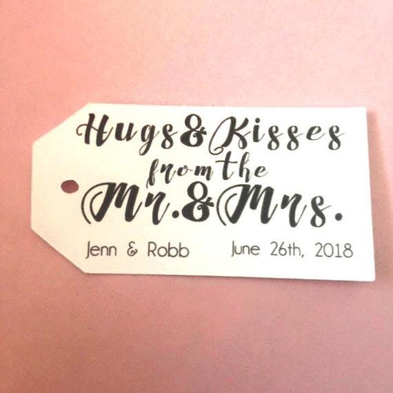 Hugs & Kisses,  Custom, Personalized Tags, wedding favors