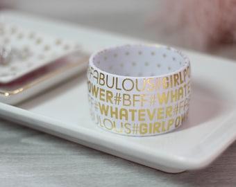 Hashtag Bracelet - BFF Bracelet - Hashtag Jewelry - Bracelet with Gold Words - White and Gold Bracelet - Hashtag Bangle - Gift for Her