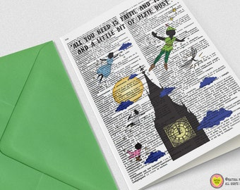Peter Pan Pixie dust Greeting Card- Peter Pan card-Peter Invitation-Stationery-baby shower card-custom card-quote card-NATURA PICTA NPGC098