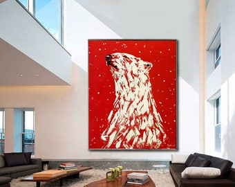 Polar Bear Extra Large Animal Painting on Canvas Ready to Hang Painting Thick Layers Extremely Power Palette Knife Animal by Kathleen Artist