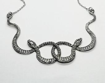 Rika snake etsy snake necklace snake jewelry double snake necklace serpent necklace snake goddess necklace medusa necklace aloadofball Gallery
