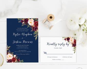 Navy Floral Wedding Invitations, Navy Wedding Invite, Marsala Burgundy Maroon Invitation Suite, Navy and Red, Spring Wedding, Summer - Kacey