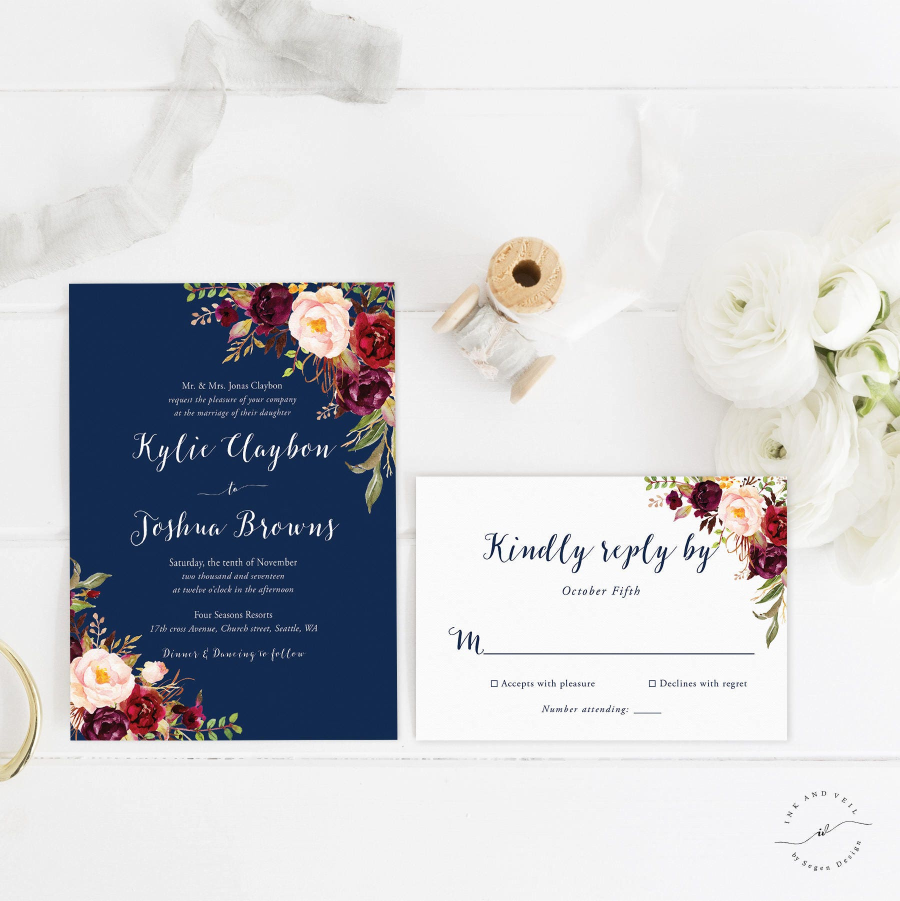 Navy Wedding Invitation: Navy Floral Wedding Invitations Navy Wedding Invite Marsala