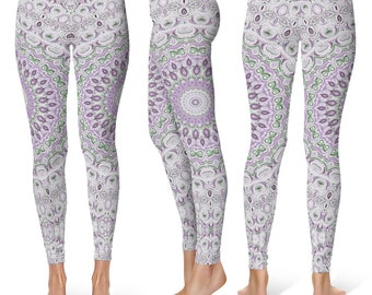 Lavender Leggings Yoga Pants, Mandala Printed Yoga Tights for Women, Festival Clothing