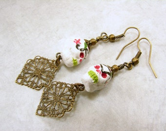 Hand Painted Sugar Skull and Antique Brass Earrings