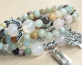 Namaste Necklace 108, Mothers Day Gift, Tibetan Amazonite 108, Mala Beads Japa Mala, Namaste Silver Bar, Quartz Angel, Mala 108 Gemstone Zen