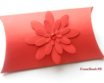 6 Red Pillow Boxes with flower Candy Box, Favor Box, Gift Box