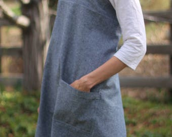 Cross Back Apron, Japanese Style Apron, Linen Cotton, Apron with Pockets, Cooking, Art, Craft, Chores, Blue, Gray