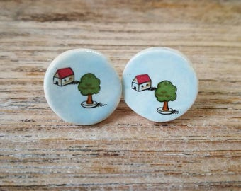 Ceramic stud earrings with cute vintage house and tree image,retro, kitsch,