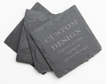 Personalized Slate Coasters, Custom Engraved Slate Coaster, Personalized Coaster, Logo, Custom Design, Personalized Wedding Gift D13