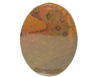 Burnt Orange & Golden Moss Agate Calibrated Oval Gemstone Cabochon 30x40 mm Semi Precious Gemstone, DIY Jewelry Craft Stone