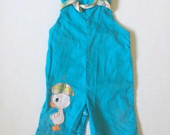 Vintage Blue Ruffle Duck Overalls Girls Sz 6-12 months