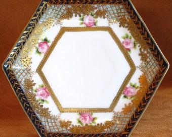 Antique 6 Sided Gold Gilded Saucer