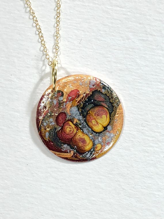 SJC10153 - Handmade round  copper enamel painted (black/orange/red/gold/silver) pendant abstract necklace with gold filled chain.