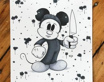 Mickey Myers Original Drawing, Mickey Mouse Art, Halloween Art, Halloween The Movie, Horror Art, Horror Collectible, Slasher Art, B & W art