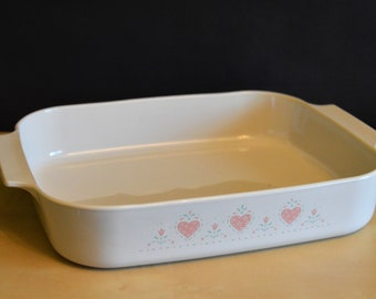 Corning FOREVER YOURS A-21-B-N Lasagna Baking Dish Pan, Pink Hearts, Natural Off-White, 12.25x10.5x2.5