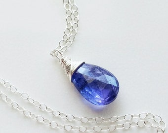 Tanzanite Necklace, Sterling Silver Tanzanite Necklace, Small Tanzanite Pendant, Genuine Tanzanite, Silver Pendant, Tanzanite Jewelry