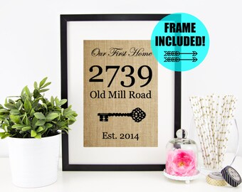 FRAME INCLUDED! Personalized Housewarming Gift | Our First Home Framed Burlap Print | House Warming Gift | Home Sweet Home Sign Closing Gift