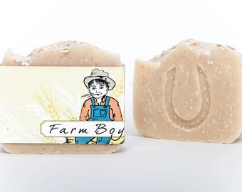 "Lavender Oatmeal Goatsmilk Soap, ""Farm Boy"", Cold Process Soap, Hand crafted, Victoria BC, Vancouver Island"