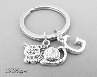 Cat Keyring, Cat Key Chain, Pet Key Chain, Animal Keyring, Personalised Cat Keychain, Cat Gifts, Pet Jewellery