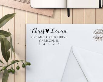 Address Stamp, Custom Rubber Stamp, Self Inking Stamp, Custom Return Address Stamp, Self Ink Return Address Stamp --si-4929-chrislaura