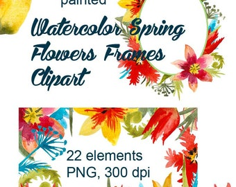 Watercolor Tulips ClipArt, Tulips , Hand painted tulip flowers, Spring Flowers Clip art, digital PNG, 300 dpi