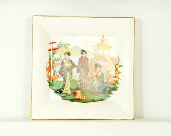 Vintage Decorative Tray - Oriental Scene with Gold Trim