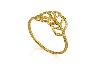 14k gold leaf ring, 14k solid gold ring, 14k solid gold wedding ring, solid 14k gold organic wedding ring, dainty leaf ring