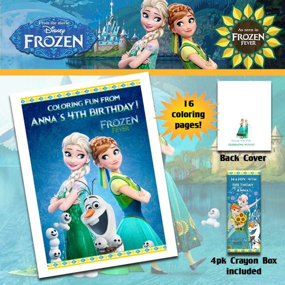 frozen fever anna elsa coloring book with crayons birthday